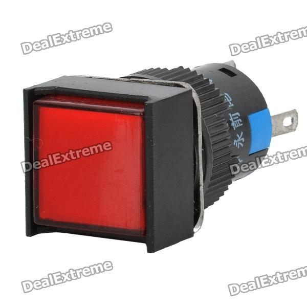 Car DIY Square Button Push Switch w/ Red Indicator(DC 12V / AC 220-250V)