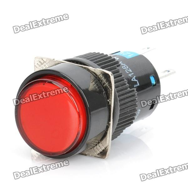 DIY 5-Pin Round Push Button Switch Module w/ Red Indicator - Black (DC 12V) diy yw 11m button switches w indicator black 5 pcs