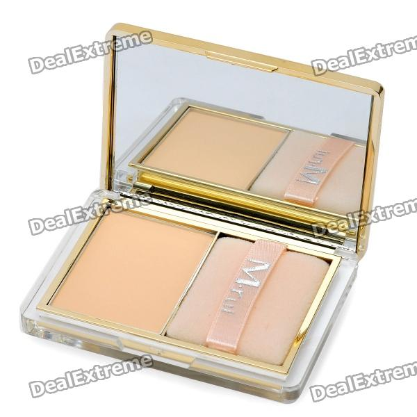 M.rui Cosmetic Makeup Powder w/ Puff / Mirror - Natural Color bob cosmetic makeup powder w puff mirror dark beige 03