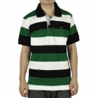 Fashion Horizontal Stripe Short Sleeves Polo Shirt T-Shirt for Men - Green + White + Black (Size-L)