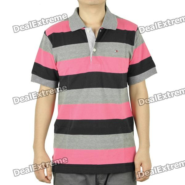 Men's Fashion Horizontal Stripe Short Sleeves Polo Shirt T-Shirt ...