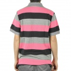 Men's Fashion Horizontal Stripe Short Sleeves Polo Shirt T-Shirt - Blue + Grey + Deep Pink (Size-L)