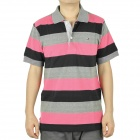 Men's Fashion Horizontal Stripe Short Sleeves Polo Shirt T-Shirt - Blue + Grey + Deep Pink (Size-M)