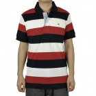 Men's Fashion Horizontal Stripe Short Sleeves Polo Shirt T-Shirt - Red + Dark Blue + White (Size-L)