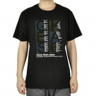 Fashion Short Sleeves Cotton T-Shirt - Black (Size-XL)