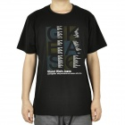 Fashion Short Sleeves Cotton T-Shirt - Black (Size-L)