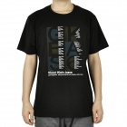 Fashion Short Sleeves Cotton T-Shirt - Black (Size-M)