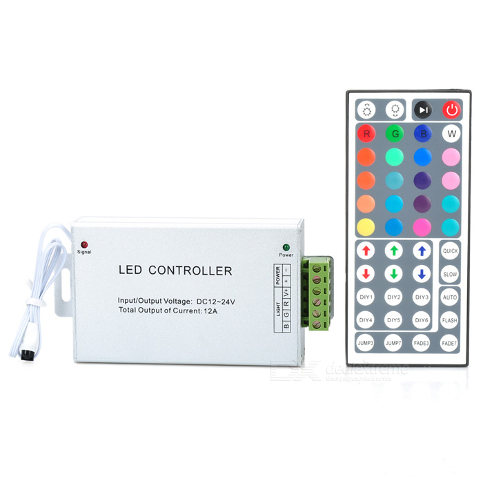 44-Key Remote Controller + Control Box for LED Colorful Light Strip (DC12~24V) solar mini charge controller tracer2210an 12v 24v auto type usb cable temperature sensor black color mt50 20a