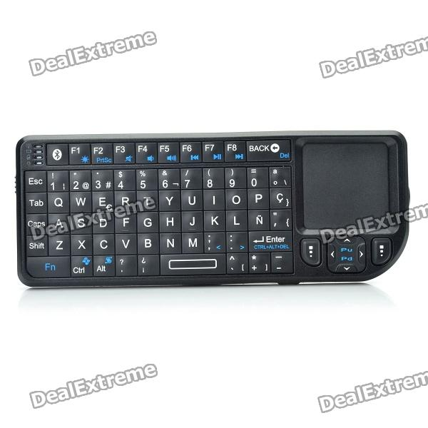 все цены на Handheld Rechargeable Bluetooth V2.0 + EDR Wireless Spanish Keyboard with TrackPad and Red Laser онлайн
