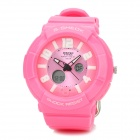 Waterproof Dual Time Display Wrist Watch w/ Data / Week / Stopwatch / Alarm - Pink (1 x CR2016)