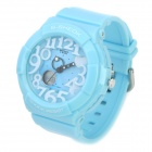 Fashion Big Numbers Water Resistant Plastic Wrist Watch - Light Blue (1 x CR2016 + 1 x SR626SW)