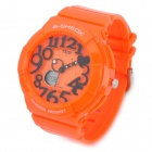 Fashion Big Numbers Water Resistant Plastic Wrist Watch - Orange (1 x CR2016 + 1 x SR626SW)