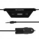 "Car Cigarette Powered 0.7"" LCD FM Transmitter with Car Charger for Smart Phone / MP3 / MP4 - Black"