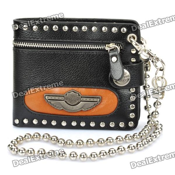 Fashion Cowhide Leather Decorative Chain Zippered Foldable Purse Wallet - Black + Silver