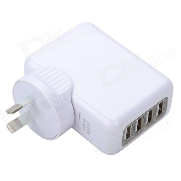 AC Power Adapter com USB 4-Port - Branco (UA Plug)
