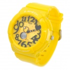Fashion Big Numbers Water Resistant Plastic Wrist Watch - Yellow (1 x CR2016 + 1 x SR626SW)