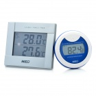 Wireless Indoor & Outdoor Pool Thermometer with Remote Sensor - White + Silver (2 x AA/2 x AAA)
