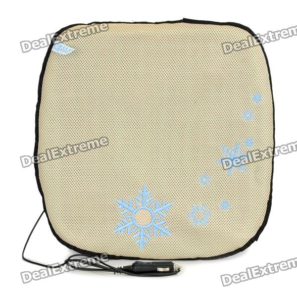 Car Cigarette Powered Seat Cooling Cushion Pad - Beige + Black