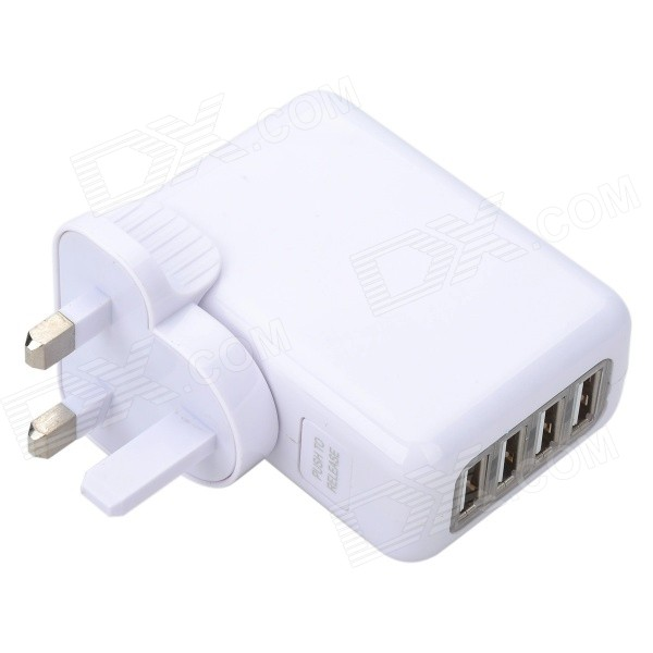 Universal Travel USB / AC Powered 4-Port Hub avec UK Plug - Blanc