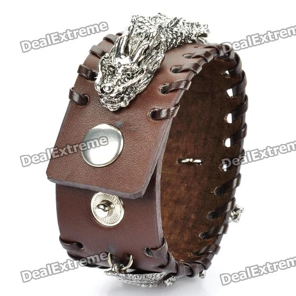 Cool Dragon Style Cowhide Leather Bracelet - Brown + Silver