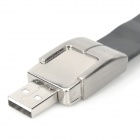 Cool Bracelet Style USB 2.0 Flash Drive - Silver + Black (16GB)