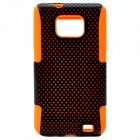 Mesh Protective Plastic Back Case for Samsung i9100 - Orange + Black