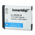 ISMARTDIGI Replacement EN-EL19 3.7V 700mAh Battery for Nikon Coolpix S4100 / S4300 / S2500 + More
