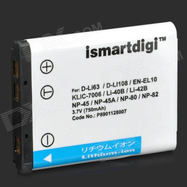 ISMARTDIGI Replacement D-Li63 / EN-EL10 / Li-40B 3.7V 750mAh Battery fro Pentax / Nikon + More ismartdigi replacement li 50b 3 7v 920mah battery for olympus mju tough tg 160 more