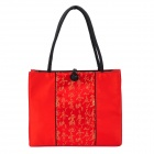 Fashion Embroidery Silk Fabric Rainproof Zippered Shoulder Bag - Big Red