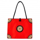 Fashion Embroidery Silk Fabric Zippered Shoulder Bag - Big Red
