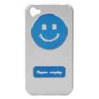 Creative Protective Smiling Face Back Cover Case for Iphone 4/4S - Silver + Blue
