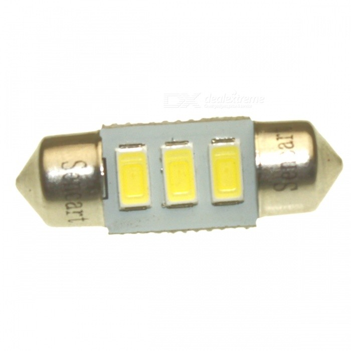 SENCART 31mm 0.5W 6500K 30LM 2-SMD 5050 LED White Light License Plate Lamp - (DC 12V) lx 3w 250lm 6500k white light 5050 smd led car reading lamp w lens electrodeless input 12 13 6v