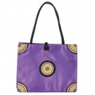 Fashion Embroidery Silk Fabric Zippered Shoulder Bag - Purple