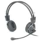 Adjustable Headphone Headset w/ Microphone / Volume Control - Black (3.5mm-Plug / 150cm-Cable)