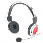SUOYANA VE-8301 Adjustable Stereo Headset w/ Volume Control / Microphone - Red + Silver (3.5mm-Plug)