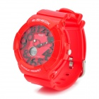 Waterproof Dual Time Display Wrist Watch w/ Data / Week / Stopwatch / Alarm - Red (1 x CR2016)