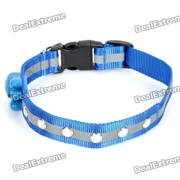 Adjustable 3-Mode 6-LED Blue Light Strip Nylon Pet Collar - Blue (2 x CR2032)