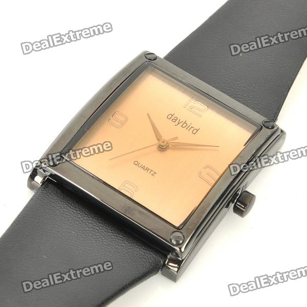 Daybird Fashion Stainless Steel + PU Quartz Wrist Watch - Black + Coffee (1 x LR626) - DXLeather Strap Watches<br>Color: Black + Coffee - Material: Stainless steel + PU leather - Model: 3465 - Whole length: 24.5cm - Built-in 1 x LR626 cell - Life waterproof - Great decoration for you - Comes with Chinese &amp;amp; English manual<br>