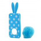 Cute Rabbit Ear Style Protective Plastic Back Case w/ Suction Cup for iPhone 4 / 4S - Blue