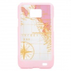 Protective Map Designed PC Case for Samsung i9100 - Pink