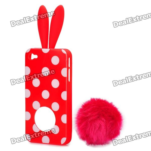 Cute Rabbit Ear Style Protective Plastic Back Case w/ Suction Cup for Iphone 4 / 4S - Red custom mural 3d photo wallpaper water falls crane home decor painting 3d wall murals wallpaper for living room walls 3 d