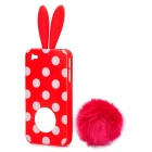 Cute Rabbit Ear Style Protective Plastic Back Case w/ Suction Cup for Iphone 4 / 4S - Red
