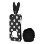 Cute Rabbit Ear Style Protective Plastic Back Case w/ Suction Cup for iPhone 4 / 4S - Black