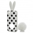 Cute Rabbit Ear Style Protective Plastic Back Case w/ Suction Cup for iPhone 4 / 4S - White