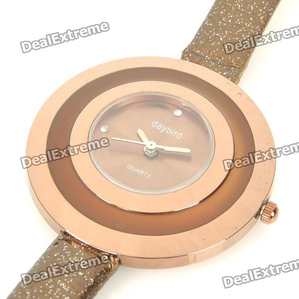 Daybird Fashion Stainless Steel + PU Wrist Watch - Coffee