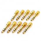 Masculino Feminino 6,35 milímetros para 3.5mm Audio Jack Adaptadores - Golden (10-Piece Pack)