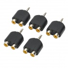 3.5mm Stereo Male to Dual RCA Female Converters Adapters (5-Piece Pack)