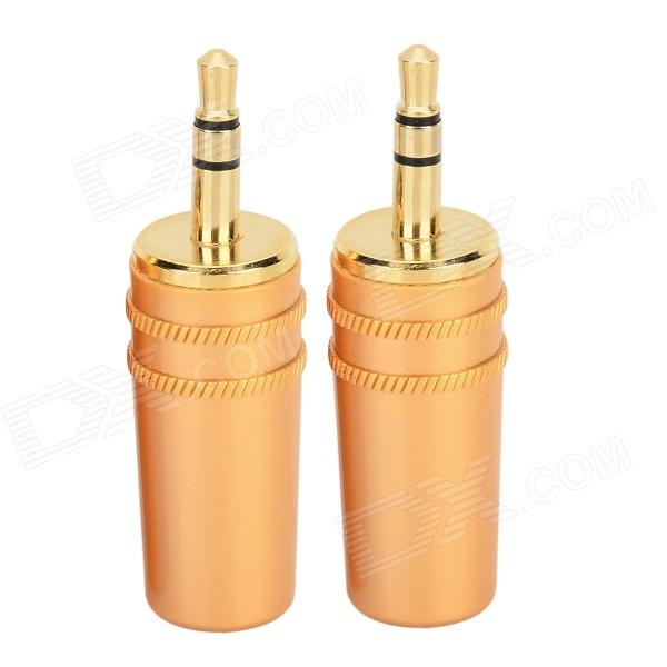 3.5mm Stereo Audio Plug Connector Adapter (Pair) gold plated banana plug jack connector set golden 3 5mm 10 pairs