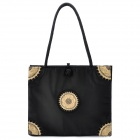 Fashion Embroidery Silk Fabric Zippered Shoulder Bag - Black
