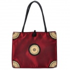Fashion Embroidery Silk Fabric Zippered Shoulder Bag - Dark Red
